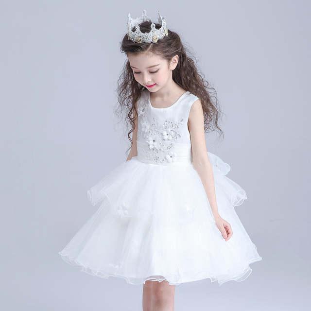 99035047b White Girls Dress Layered Party Wear Flower Girl Vestido for Wedding 2019 Girls  Clothing 3 4