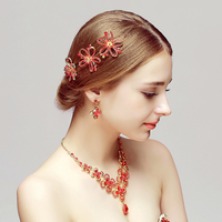 Gold Color Flower Style Women Party Jewelry Sets Red Rhinestone Necklace Earrings Set Wedding Ornaments Bijoux