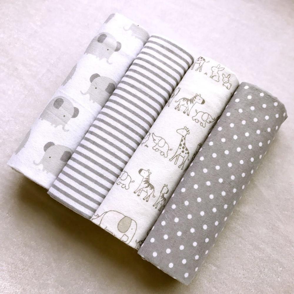 Alta calidad 4 unids/pack 100% algodón Supersoft de recibir bebé Swaddle manta bebé sábana 76*76CM mantas de bebé recién nacido