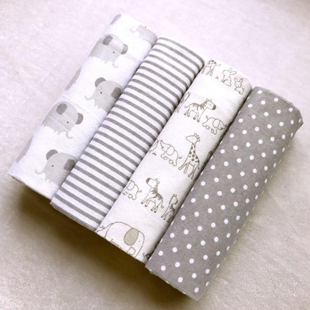 Alta calidad 4 unids/pack 100% algodón franela extrasuave reciben manta de bebé Swaddle Baby Bedsheet 76*76 cm mantas de bebé recién Nacido