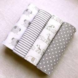 Alta qualidade 4 unidades/pacote 100% algodão supersoft flanela recebendo cobertor do bebê swaddle bedsheet 76*76 cm bebê cobertores recém-nascido