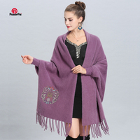 China Happy character Mink Cashmere Shawl Cape Long Delicate Embroidery Pashmina Scarf Sleeved Cloak Coat Women Autumn Winter