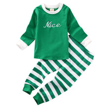 a8fb0a2268 Emmababy Hot New 2PCS Green Striped Infant Baby Boys Girls Striped Bodysuit  Pajamas Pants Outfits(