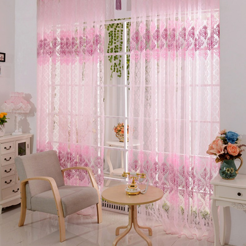 Totem Voile Door Curtain Window Room Drape Divider Transparent Sheer Valance 1 X 2 CM AA