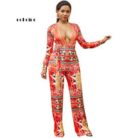 Echoine New Women's Jumpsuits Floral Print Multicolor Straight High Waist Deep V neck Long Sleeved Lady's Fashion Russian Style