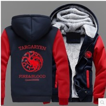 Hot Sale Men's Hooded Casual Brand Hoodies Clothing  game of thrones Mens Winter Thickened Warm Coat Male  Sweatshirts Outwear