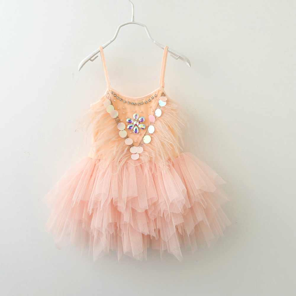 672b22ea Retail Summer Baby Girl Feather Birthday Party Performance Dress Manual  Glittering Flutters Pearl Diamond Tulle Dance