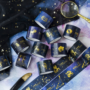 3cm*5m Twelve Constellations Gilding Washi Tape DIY Scrapbooking Sticker Label Masking Tape School Office Supply