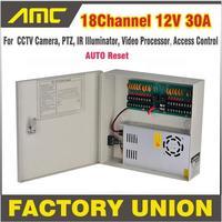 Barato Caja de alimentación CCTV 18 canales 12 V 30A soporte PTZ IR iluminador Control de acceso para 18 canales DVR CCTV cámara de alimentación suministro de