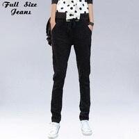 Top Quality High Elastic Waist Denim Loose Ripped Black Jeans Woman Plus Size Boyfriend Jeans For