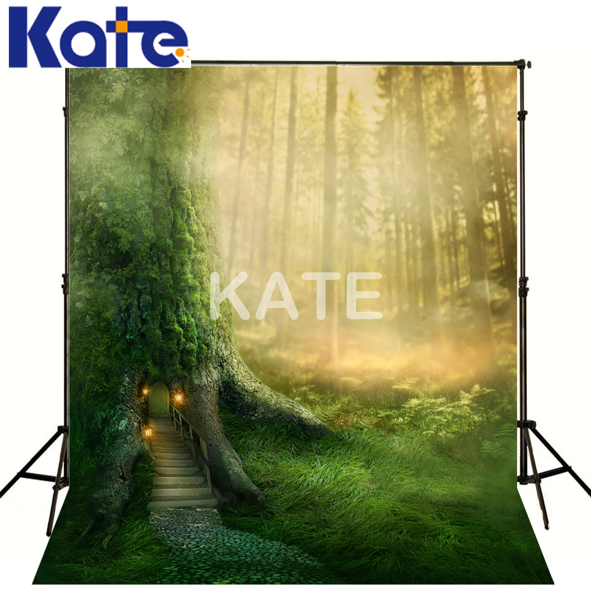150*200CM(5*6.5FT)Kate Photography Backdrops Green Screen Natural Tree House Kate Background Backdrop kate background natural scenery