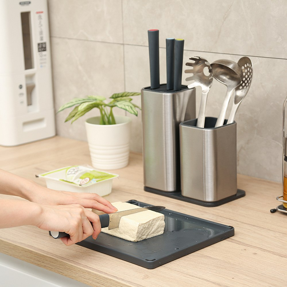 Knife Stand Holder For Kitchen Knife Stainless Steel Cooking Knife Holder Stand Block Sharpener Rod Bar Cut Board Accessories