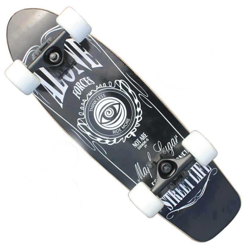 4b001a2f451ba8 Trendy Painting Sports Skateboard Adult Children 4 Wheel Brush Street Maple  Scoot ABEC-7 Chrome