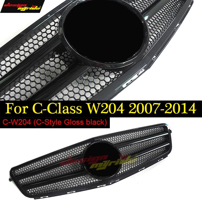 Front Grille gloss black Mesh for Mercedes W204 C Class Auto Bumper Replacement Parts C180 C200 c230 C250 c280 c300 2007-2014 carbon fiber rear trunk amg style spoiler for mercedes c class w204 2008 2014 c180 c200 c220 c230 c250 c280 c300 c320