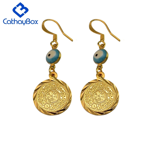 Blue Greek Mati Evil Eye Earrings For Women Gold Tone Fashion Round Sequin Coin Charm Drop