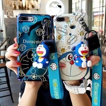 Nuevos Productos en 2019, funda de teléfono de silicona blanda con soporte 3D de cordón para Doraemon/Pink Panther