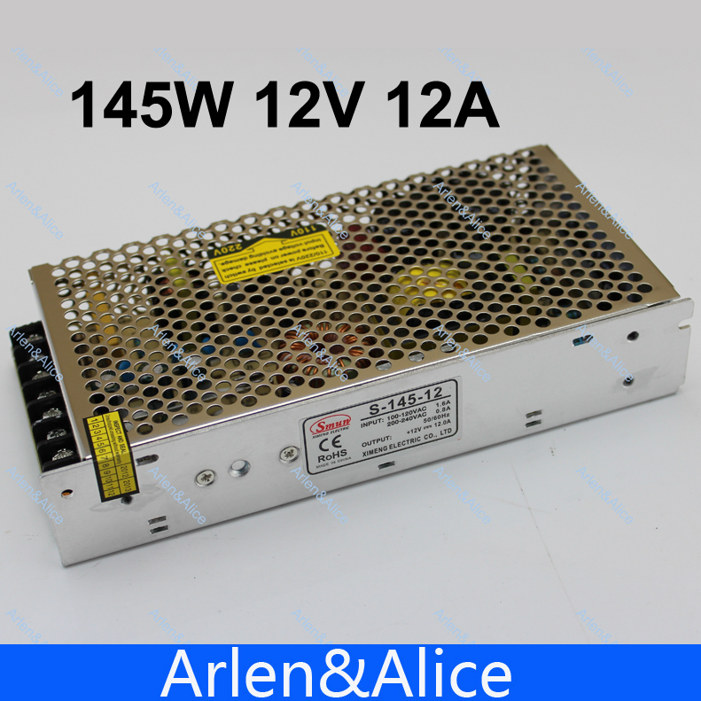 145W 12V 12A Single Output Switching power supply for LED Strip light AC to DC best quality 12v 15a 180w switching power supply driver for led strip ac 100 240v input to dc 12v