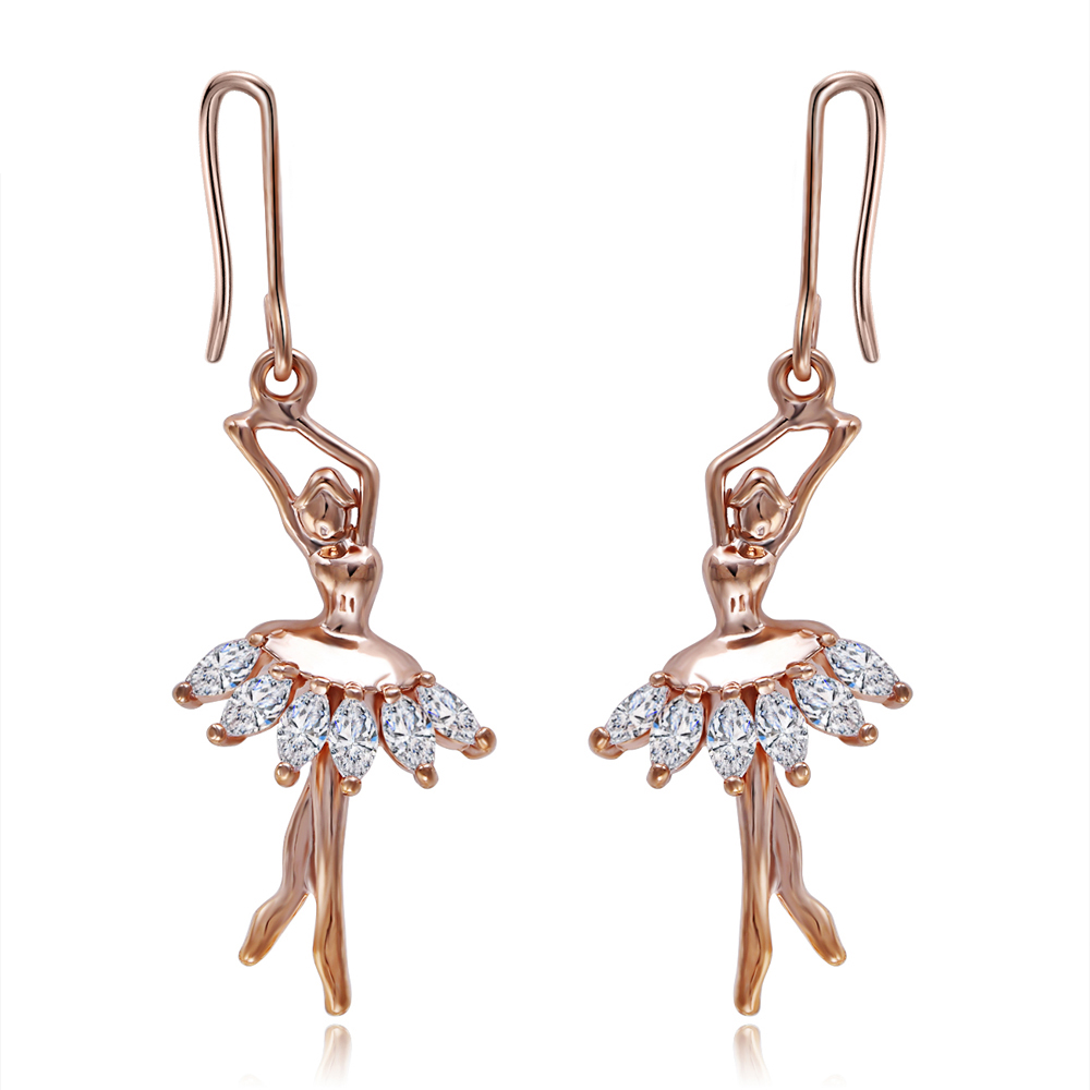 Fashion Sexy Copper Metal Gold Color Plated Earrings Cute Ballet Dance Girl  Dangle Earrings Jewelry No