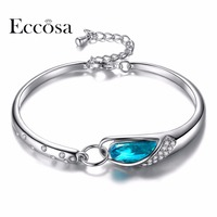 ECCOSA Cheap Woman Bracelets Bangles Pure Love Wristband For Woman Jewelry Adjustable Chain Bracelet Crystal From