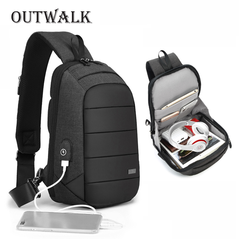 OUTWALK Male Crossbody Bags USB Charging Chest Bag for Men Anti Theft Shoulder Bag Water Repellent Short Trip Messengers Bag New