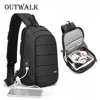 OUTWALK Male Crossbody Bags USB Charging Chest Bag for Men Anti Theft Shoulder Bag Water Repellent Short Trip Messengers Bag New