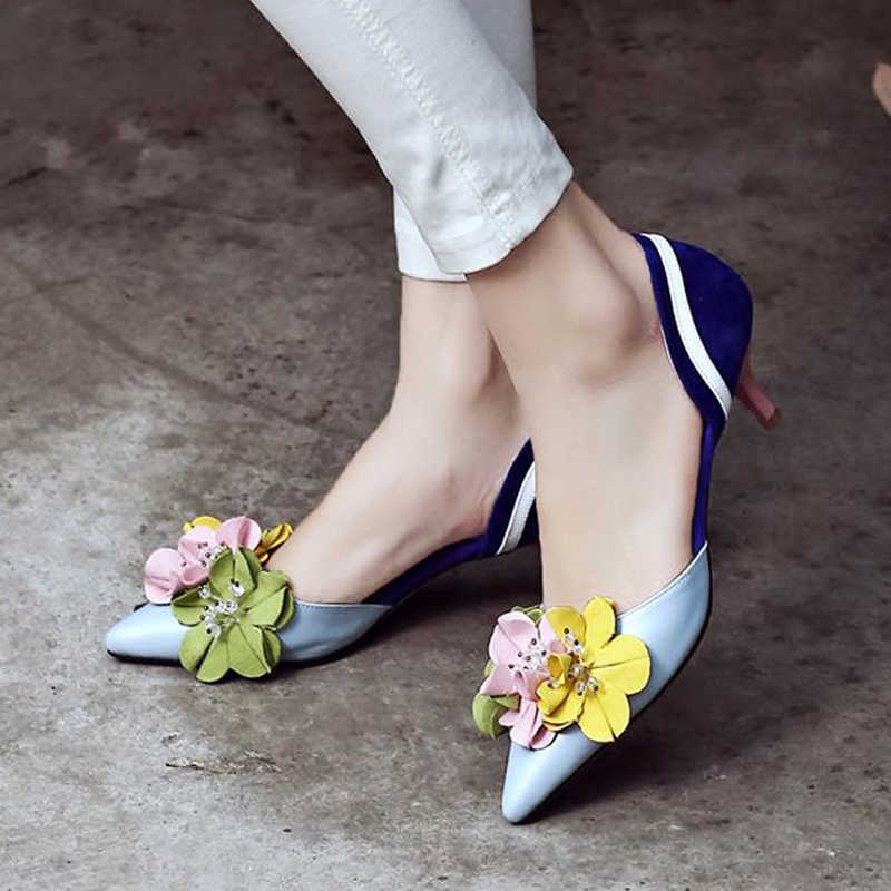 2016 in pelle scamosciata fiori di colore di periodo sottili tacchi alti sottolineato punta chiusa PU cuoio scarpe donna fashion designer elegante semplice scarpe