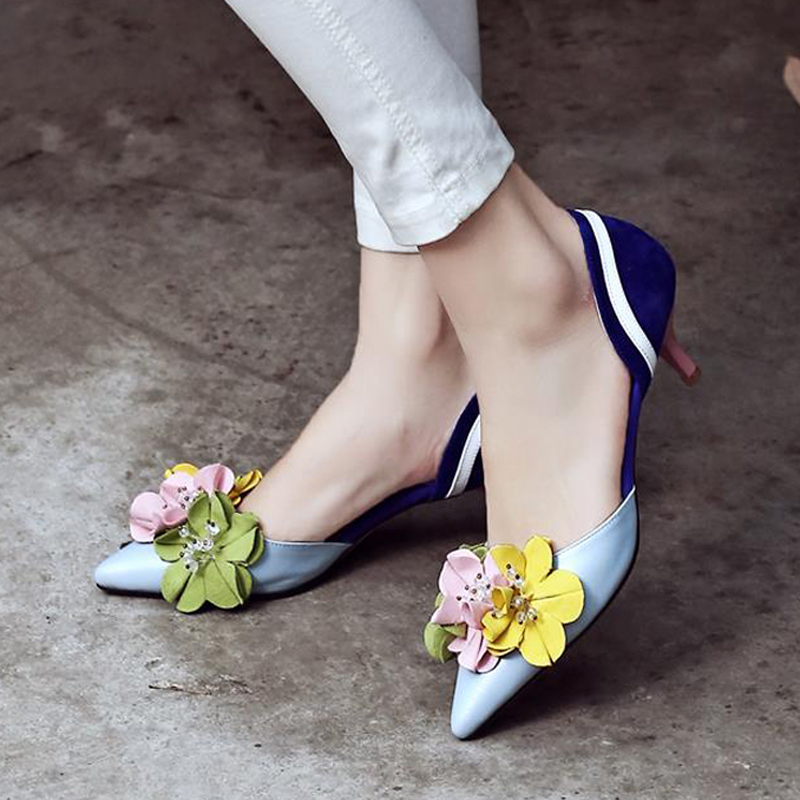 2016 Suede Flowers Spell Color Thin High Heels Pointed Closed Toe PU Leather Shoes Women Designer Fashion Elegant Simple Shoes