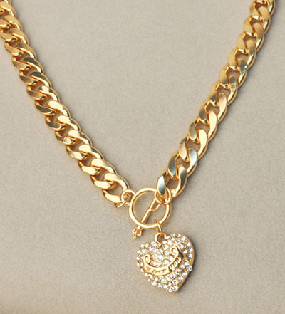 73dbeb954 Micro Pave CZ Crystal Smile heart Pendant tag toggle 11MM Chunky Heavy  Choker Chain 20