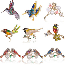 hot deal buy rinestone colorful bird imitation pearls brooch animal brooches for wedding women decoration wild animal fashion gold jewelry