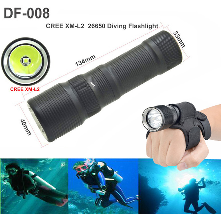 Diving flashlight CREE XM-L2 TrustFire DF008 Waterproof 3 Mode Magnetic Control Switch XML-L2 LED flashlight Diving torch DF-008