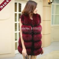 Female Autumn Winter Fox Fur Raccoon Thickening Fur Vest Woman Long O neck Warm Vest Fox Fur Outerwear