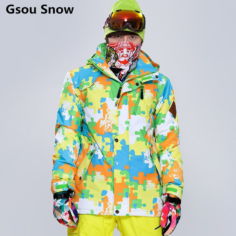 Gsou snow mens calientes hombres de la chaqueta de esquí impermeable chaqueta de
