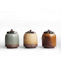 Handmade Japanese Retro Park Hyun Coarse Pottery Ceramic Seal Tea Storage Chest Tank Pu'er Tea Caddy Can Canister Gift Box