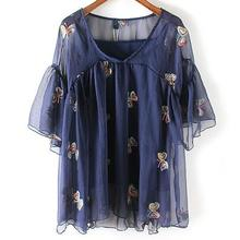 new women V neck Butterfly embroidery casual loose chiffon blouse female shirt Sling blouse women Top D1216