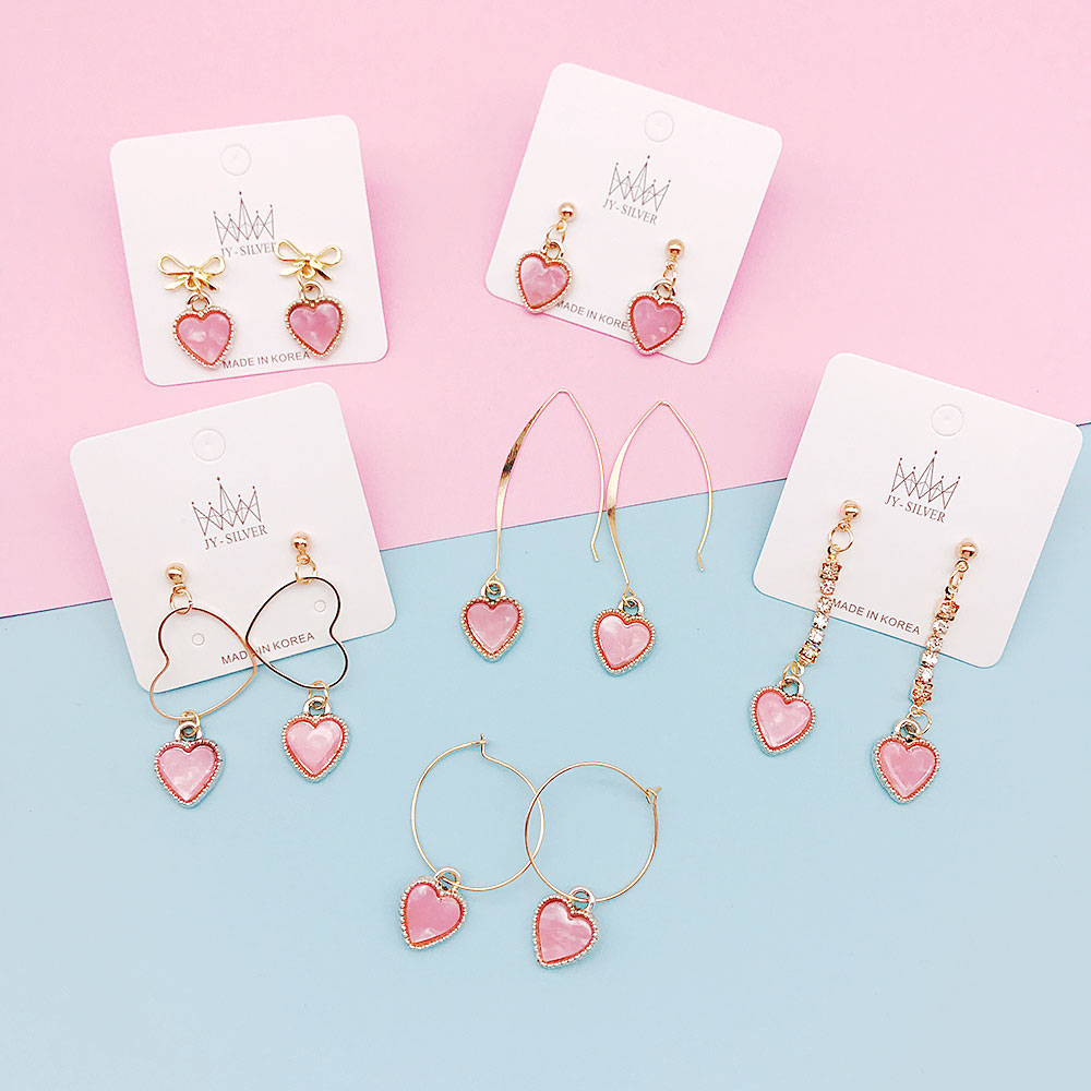 Korean simple pink heart acetic acid Cute earring acrylic plate circle long geometric rhinestone tassel earrings female