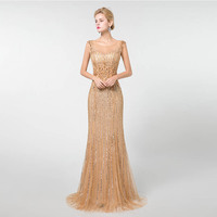 YQLNNE 2019 золотые платья без рукавов для выпускного длинное вечернее бальное платье в виде русалки кружева аппликации бисером YQLNNE