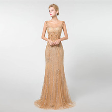 2019 Gold Sleeveless Prom Dresses Long Mermaid YQLNNE