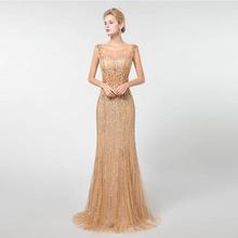 2019 Gold Sleeveless Prom Dresses Long Mermaid YQLNNE