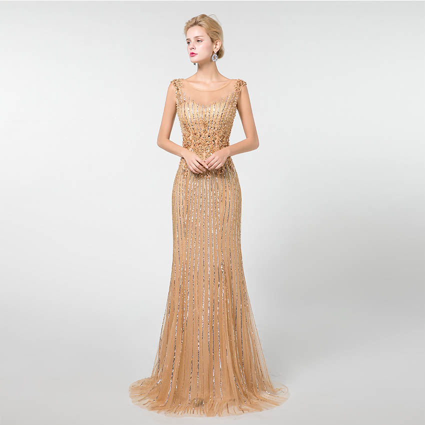 YQLNNE 2019 Gold Sleeveless   Prom     Dresses   Long Mermaid Evening Gown Lace Appliques Beading YQLNNE