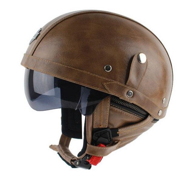DOT Approved New Retro Leather Motorcycle font b Helmet b font vintage Hlaf font b Helmet