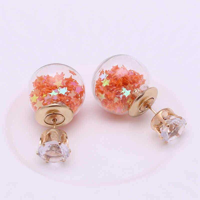 64c7e34e5 ... New Fashion Jewelry Golden Crown Crystal Shining Double Sides Big Glass  Pearl Stud Earrings Star Ball ...