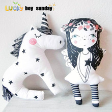 unicorn toy cute unicorn pillow bear ribbit cloud rainbow pillow baby cushion home decor high quality
