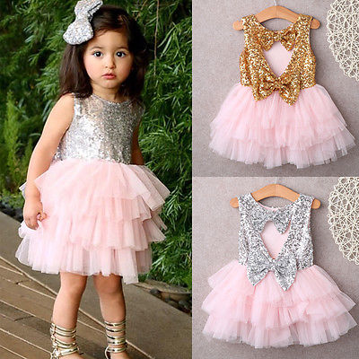 Baby Flower Girl Dress Sequin Bow Backless Party Gown Formal Dresses Tutu Princess dress Girls Age 2-6T Gold SilverBaby Flower Girl Dress Sequin Bow Backless Party Gown Formal Dresses Tutu Princess dress Girls Age 2-6T Gold Silver
