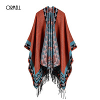 ORMELL Elegant Women Sweaters And Pullovers 2017 Fashion Tassels Shawl Female Autumn Winter Warm Long Cardigan Poncho Knitting