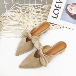 Женские замшевые туфли без задника с бантом и острым носком, летние модельные туфли на деревянном каблуке 3 см, повседневные шлепанцы