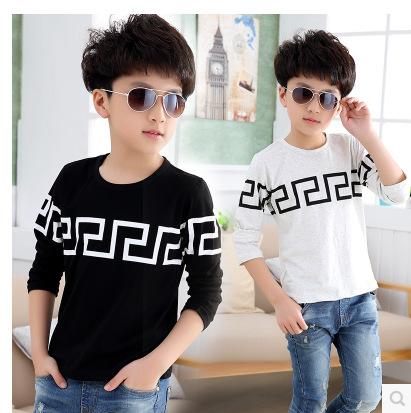 Niños Primavera Otoño Impresión de Algodón de Manga Larga T-shirt Que Basa La Camisa Ropa Para Niños Blanco Negro