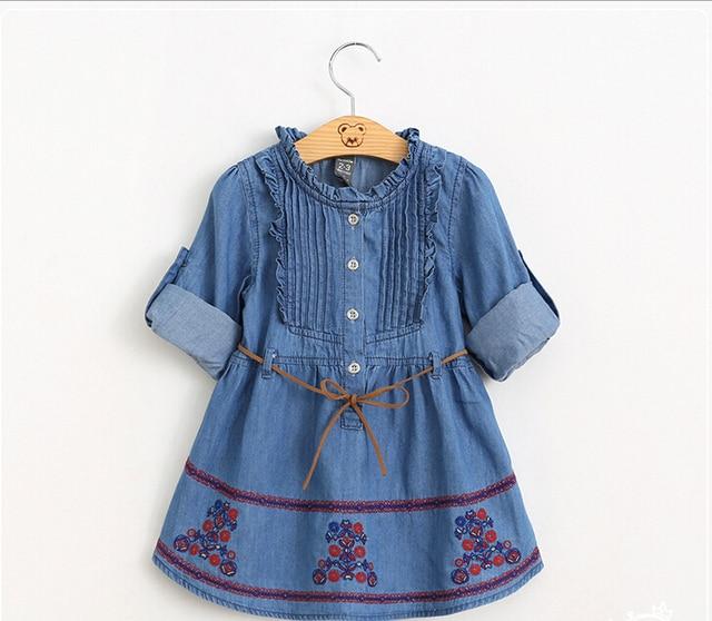 c85caf6656e2 Baby Kids Cotton Embroidery Three Quarter Sleeve Denim Dresses ...