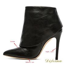 Solid Black Women Boots Thin High Heels Autumn Boots Pointed Toe Women's Boots Soft Leather Zip women Shoes High Heel