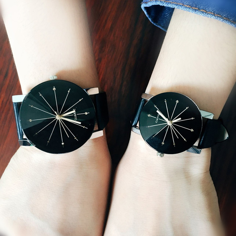 1 Pair Simple Lovers Watch Couples Wristwatches Rhinestone Leather Straps Quartz Wrist Watches For Boy Girl Birthday Gift  LL