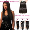 Brazilian Straight Hair with Closure 4 Bundles With Closure 7A Brazilian Virgin Hair With Closure Brazilian Hair With Closure
